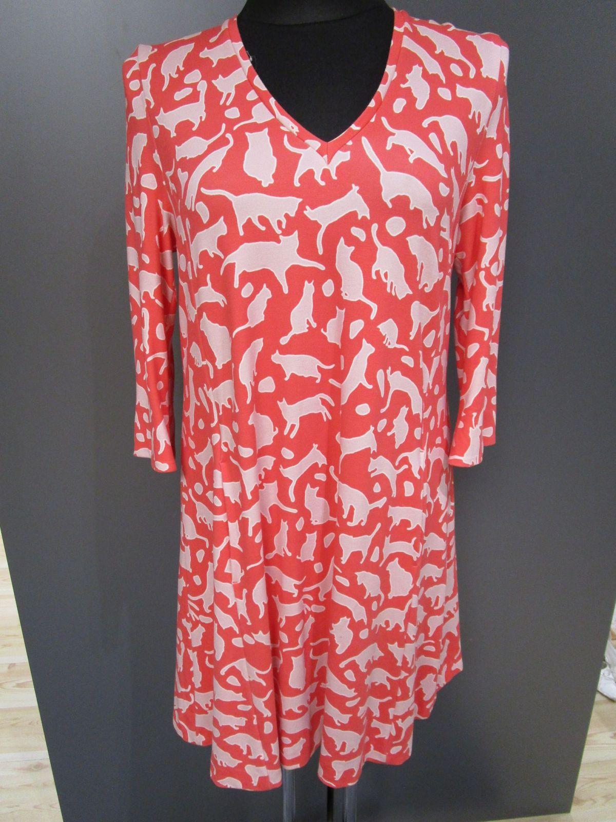 marccain sweatshirt kleid stretchig rot katzen gr.n5/42 (m50