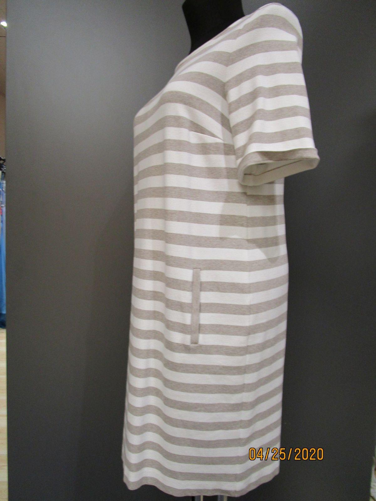 details zu va bene sweatshirt kleid strick optik wollweiß-taupe gr.46  neuwertig