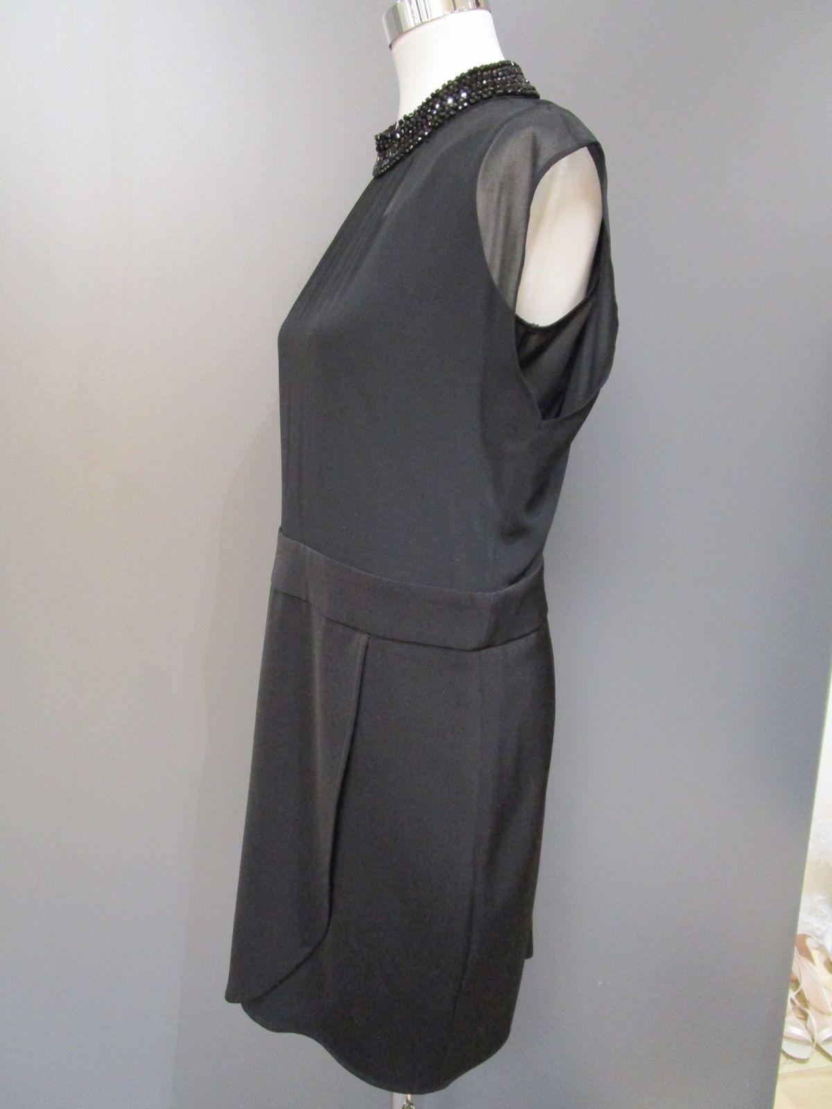 details zu comma coctailkleid knielang schwarz polyester stehkragen  ärmellos schmucksteine