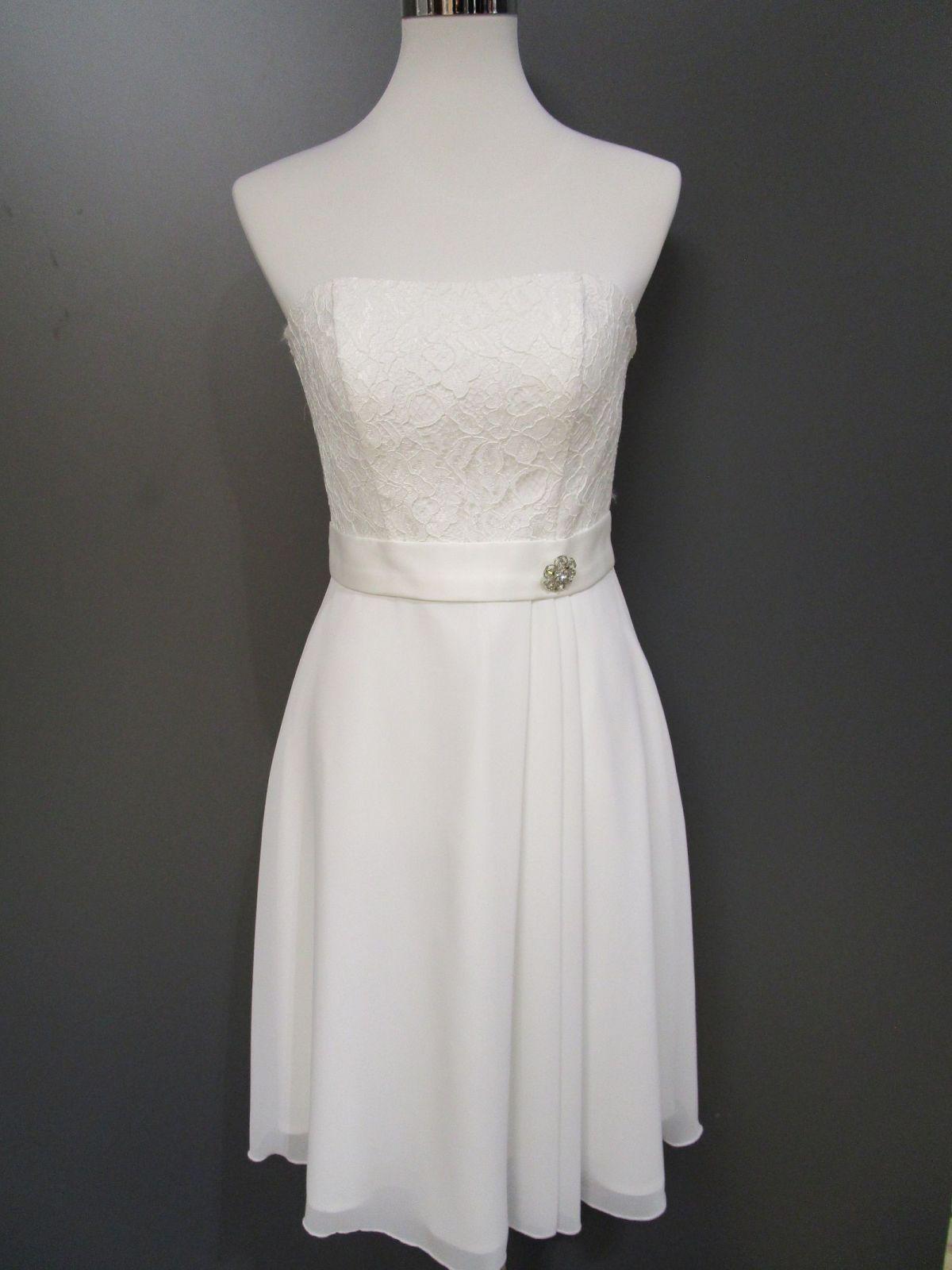 details zu fashion new york kurzes brautkleid standesamt ivory gr.48 neu  (b100-15)